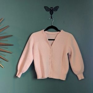 Pale pink with pearl button up cardigan